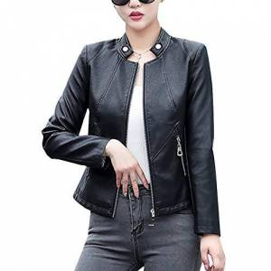 E-Girl Femme Veste Simili Cuir Moto Courte Ajustée Noir,PQ918,3XL - Publicité