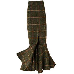 Skirts Jupes, Plus la Taille 4XL!Vintage Plaid Laine Trompette Femmes Taille Haute Paquet Épais Hanche Split Sirène Vert 36 - Publicité