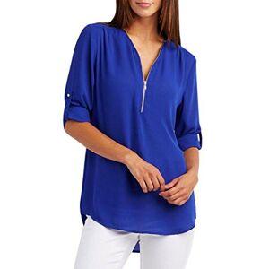 MORCHAN Mode Femmes Casual Tops T-Shirt Lâche Haut à Manches Longues Blouse (XL, Bleu) - Publicité