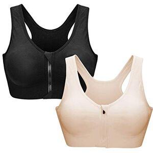 ZOEREA Soutien-Gorge de Sport Femme Zippée Devant Push Up Bra Vest Coussinets Amovibles pour Fitness Jogging Yoga Course (Noir+Abricot, M) - Publicité
