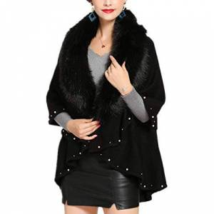 Fanessy Femme Manteau Vintage Noir Gris Cape Châle Longue Veste Parka élégant Casual pour Hiver Automne Chaud Poncho Décor à Perle Bouffant Taille Unique Col Fourrure Fausse - Publicité