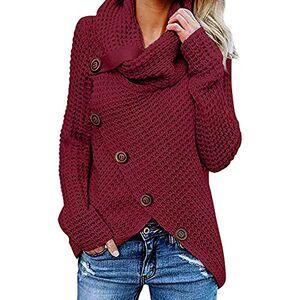 ITISME Femme Chandail légant Col Haut Manche Longue Sweater Blouse Pull Chic Oversized Bouton Jumper Tricots Tops Pullover pour Printemps Automne Hiver - Publicité
