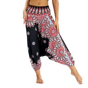 Manooby Femmes Bloomers Pantalon Sarouel de Yoga Pantalon Bouffant Imprimé Floral Legging Taille Unique Jambe Large Pants Boho Aladdin Respirant Sport Plage - Publicité