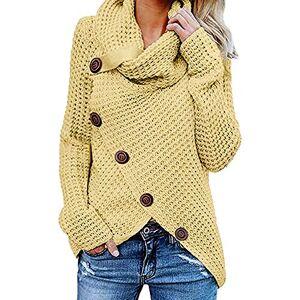 ITISME Femme Hiver Manches Longues Col Haut Pull Sweater Tricotés Pullover Casual Loose Pull Basique Tricoté Jumper Chaud Tops - Publicité