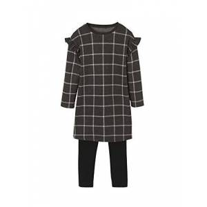 Vertbaudet Ensemble Robe + Legging Fille Carreaux Gris Cendre 5 A