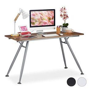 Relaxdays , design moderne pour chambre dado et bureau, gros pupitre,HlP: 77 x 135 x 60 cm, brun, MDF, métal, marron - Publicité