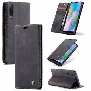 AKC Coque Compatible avec Huawei P20 Pro Cover Cuir Housse Pochette Fonction Stand Ultra Mince Protection Antipoussière Case-Noir - Publicité