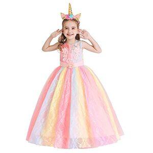 MYRISAM Princesse Fille Licorne Déguisement Robe de Anniversaire Cérémonie Soirée Halloween Carnaval Noël Fête Spectacle Mariage Longue en Tulle Robes Bal avec Bandeau Arc-en-Ciel 13-14 - Publicité