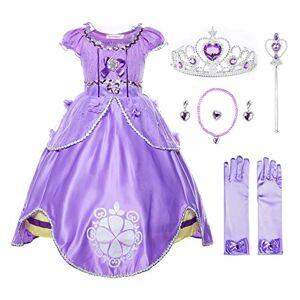 JerrisApparel Fille Costume Princesse Sofia Tulle Anniversaire Fête Robe (3 Ans, Violet avec Accessoires) - Publicité