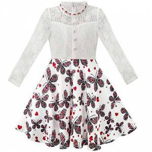 Sunny Fashion Robe Fille Dentelle Perle Prune Fleur légant Princesse Habiller 7 Ans - Publicité