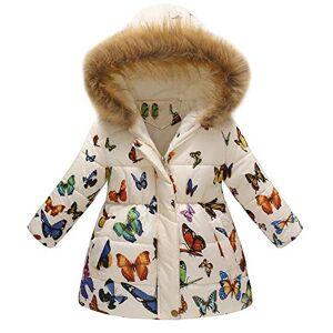 Tonsi Manteau Fille 2-7 Ans Doudoune Vêtements de Coton Blousons de Imprimé Fermeture éclair Manche Longue à Capuche - Publicité