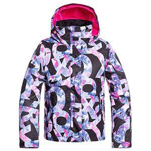 Roxy Jetty Girl-Veste de Ski/Snowboard Fille 8-16 Ans, True Black Famous Alphabet, FR (Taille Fabricant : 14/XL) - Publicité