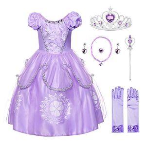 JerrisApparel Fille Costume Princesse Sofia Tulle Anniversaire Fête Robe (7 Ans, Lilas avec Accessoires) - Publicité