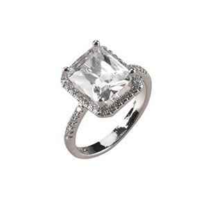 IHAZA Luxe Tendance Plein diamant Carré Zircon Bague Dames Bijoux - Publicité