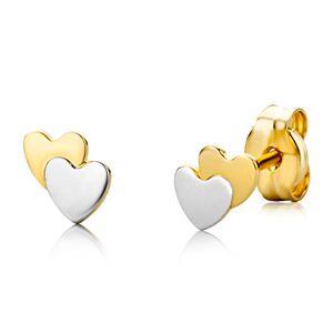 Miore Bijoux pour Enfants Filles Clous d'Oreilles Double Cur en deux Tons Boucles d'Oreilles en Or Bicolor Or Jaune et Or Blanc 18 Carats / 750 Or - Publicité