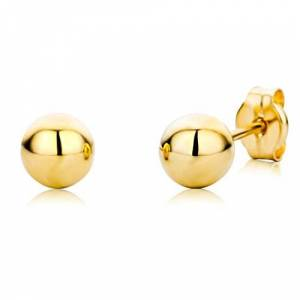 Miore Bijoux pour Femmes Enfants Filles Clous d'Oreilles Boules brillantes diamtre 4 mm Boucles d'Oreilles en Or Jaune 18 Carats / 750 Or - Publicité