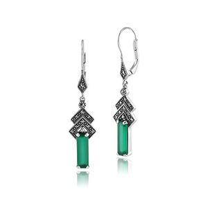 Gemondo Pendants d'oreille style vintage et Art déco en argent sterling 925avec calcédoine verte et marcassite - Publicité