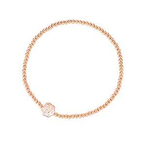 MetJakt Sleek 2,5 mm Perles élastiques Bracelet extensible en argent sterling plaqué or 18 carats Pendentifs divers (Flower, Argent sterling plaqué or rose) - Publicité