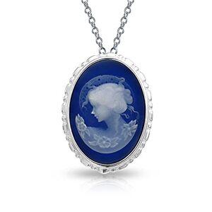 Bling Jewelry Vintage Style Victorien Portrait Femme Ovale Blanc Bleu Broche Camée Sculpté Ou Collier Argent Sterling 925 - Publicité