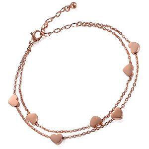 Flongo Bracelet Acier Inoxydable Charme Coeur Anniversaire Gourmette Couleur Rose Or Chane de Main & Cheville Fantaisie Bijoux pour Femme - Publicité