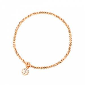 MetJakt Sleek 2,5 mm Perles élastiques Bracelet extensible en argent sterling plaqué or 18 carats Pendentifs divers (Double Happiness, Argent sterling plaqué or rose) - Publicité