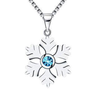Amilril Collier, Bleu Cristal Flocon de Neige Pendentif, 925 Sterling Argent, Cadeaux de Nol Bijoux - Publicité