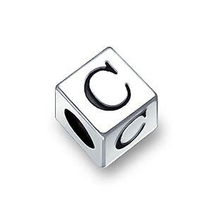 Bling Jewelry Alphabet Lettre C Bloc Charme Initial Charms Et Perles Pour Femme En Argent 925 Bracelet Européen - Publicité