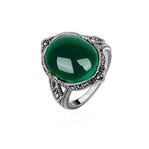 Jade Angel Argent 925/1000 Bague Agate Verte Ovale Marcassite Vintage - Publicité