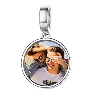 Custom4U Charm Photo Personnalisé en Argent 925 pour Bracelet,Pendentif avec Photo Gravé Perle Beads pour Femmes et Filles,Bijoux Personnalisable Cadeau Anniversaire Maman Marriage - Publicité
