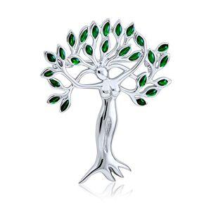 Bling Jewelry Vert Feuilles Arbre De Vie Protection De La La Nature De La Déesse Mre Terre Broche Argent pour Les Femm ES - Publicité