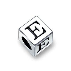 Bling Jewelry Alphabet Lettre E Bloc Initial Charms Et Perles Pour Femme Ados En Argent Bracelet Européen - Publicité