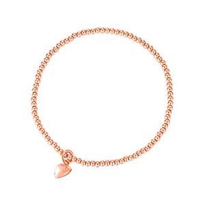 MetJakt Sleek 2,5 mm Perles élastiques Bracelet extensible en argent sterling plaqué or 18 carats Pendentifs divers (Heart Charm, Argent sterling plaqué or rose) - Publicité
