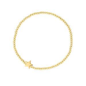 MetJakt Sleek 2,5 mm Perles élastiques Bracelet extensible en argent sterling plaqué or 18 carats Pendentifs divers (Lien étoile, Argent sterling plaqué or jaune) - Publicité