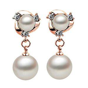 Ogquaton Cristal durable Boucles d'oreilles Imitation Perle Connexion Pendentifs Boucles d'oreilles pour les femmes Boucles d'oreilles, Or rose - Publicité