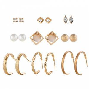 AllRing Lot de 9 paires de boucles d'oreilles tendance pour femme Perles incrustées de diamants Grand cercle Cadeau exquis pour femme et fille - Publicité