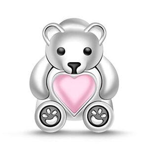 """Gnoce Perle Charms Petite Ours en Argent Sterling 925""""Mon Cur est toujours avec vous"""" Charms Pendentifs avec Rose Coeur Compatible avec Bracelets et Colliers - Publicité"""