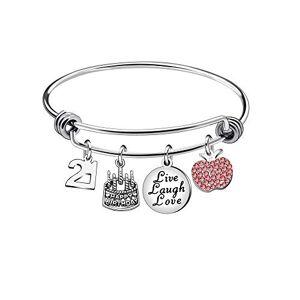 Awyuan 13 16 18 21 30 40 50 60 65 Ans Cadeaux d'anniversaire pour Femme Bracelet en Acier Inoxydable Bijoux (21) - Publicité