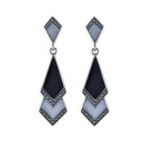 Esse Marcasite  Boucles d'Oreille Femme Argent 925/1000 6.08 Gr Marcassite/Onyx - Publicité