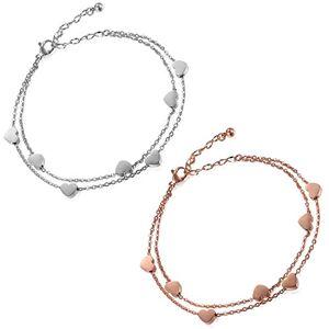Flongo 2Pices Bracelet Acier Inoxydable Charme Coeur Anniversaire Gourmette Couleur Argent Chane de Main & Cheville Fantaisie Bijoux pour Femme Fille - Publicité