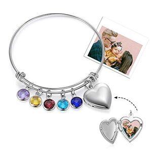 Ashleymade Bracelet Photo Personnalisé avec 2  5 Enfants et Noms Gravure Fille Femmes Coeur Pendentif Charmes Bracelets Cadeau pour la Fte des mres Anniversaire Nol (5 stone) - Publicité