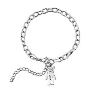 Ashleymade Bracelet Personnalisé avec 1  5 Enfants et Noms Gravure Fille Femmes Pendentif Charmes Bracelets Cadeau pour la Fte des Mres d'Anniversaire (1 enfant) - Publicité