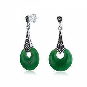 Bling Jewelry Style Asiatique Bonne Fortune La Marcassite Teint En Vert Jade Pendantes Cercle Ouvert Pour Femme Argent - Publicité