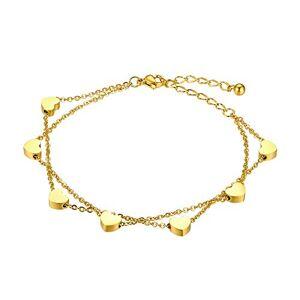 Flongo Bracelet Acier Inoxydable Charme Coeur Anniversaire Gourmette Couleur Doré Chane de Main & Cheville Fantaisie Bijoux pour Femme Fille - Publicité
