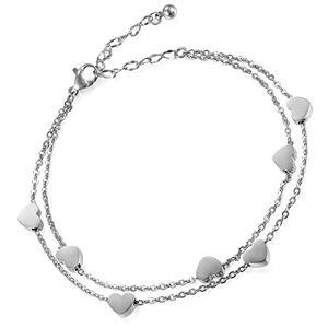 Flongo Bracelet Acier Inoxydable Charme Coeur Anniversaire Gourmette Couleur Argent Chane de Main & Cheville Fantaisie Bijoux pour Femme Fille - Publicité