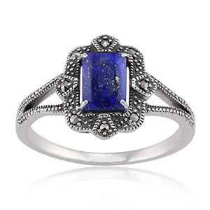 Gemondo Argent Sterling 0.9ct Lapis Lazuli & 0.088 Carat Marcassite Art Déco Bague Style - Publicité