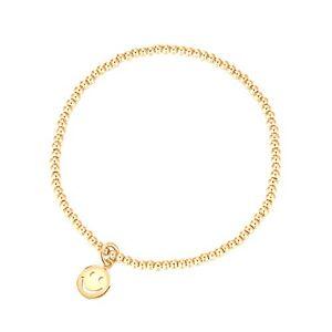 MetJakt Sleek 2,5 mm Perles élastiques Bracelet extensible en argent sterling plaqué or 18 carats Pendentifs divers (Smile, Argent sterling plaqué or jaune) - Publicité