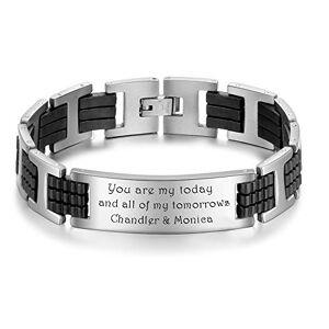 KAULULU Bracelet Homme Prénom Personnalisé Acier Inoxydable Bracelet Gravé pour Femme avec Nom L'amour BFF Bracelet Femme Personnalisé avec Prenom Cadeau Anniversaire (H-Formed) - Publicité