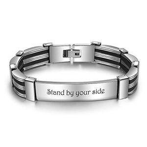 KAULULU Bracelet Homme Prénom Personnalisé Acier Inoxydable Bracelet Gravé pour Femme avec Nom L'amour BFF Bracelet Femme Personnalisé avec Prenom Cadeau Anniversaire (H-Line) - Publicité