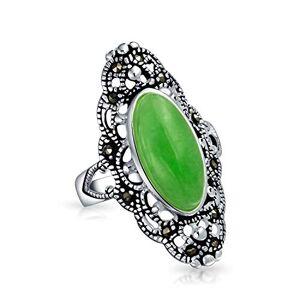 Bling Jewelry Ovale Style Vintage Teint En Vert Jade Armour Réglable Déclaration Pour Femme En Filigrane Bague Marcassite Argent 925 - Publicité