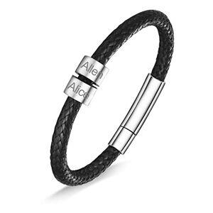 Custom4U Bracelet Cuir 2 Prénoms Personnalisable 22cm,Gourmette Homme Personnalisé,Bijoux Gravé Gravure Cadeau pour Anniversaire Fte Pre Hommes,Enfants Garons - Publicité